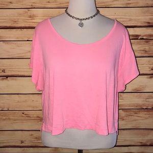 VS PINK Neon Pink Cropped Loose Fit Tee